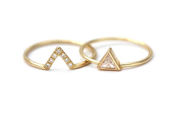 Bague alliances fiançailles artemer diamants or triangle géométrique combinées